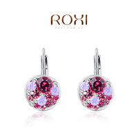 2014 new fashion pink genuine crystal luxury original design  women earrings  the best gift jewelry genuine freeshipping