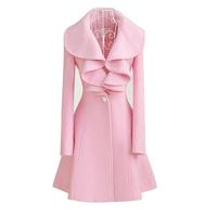 2014 Winter Coat Women Coat Women New Designer Fall/winter High Quality Clothing Classic Lapel Double Pocket Longline Oversized