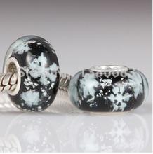 2PCS Lot 925 Sterling Silver Romantic Snow Murano Beads fit Pandora Style Charms Bracelets Jewelry