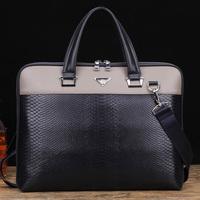 Vintage Genuine cowhide leather Men business handbag briefcase bag cross-section business computer shoulder bag