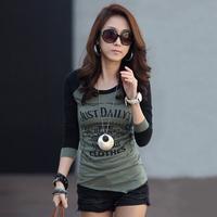 Cheap Casual Women Clothes  Letter Print Long Sleeve T shirt Quality Fashion Desigual Basic Tops Roupas Femininas Autumn t8802