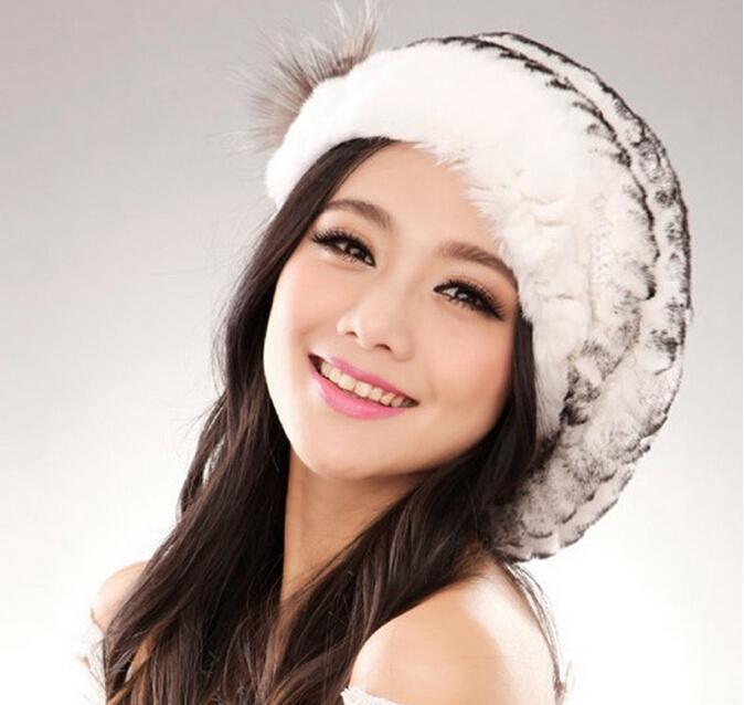 2014 New Genuine Rex Rabbit Fur Hat Knitted Rabbit Fur Cap Real Rabbit Fur Headwear Winter Fur Cap Free Shipping FP332(China (Mainland))