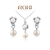 2014 New Top Fashion Roxi Classic Women Crystal Whit Pearl Necklace/earrings Jewelry Sets For Anniversary Freeshipping