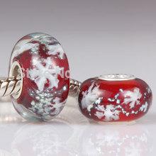 2PCS/Lot ! European 925 Sterling Silver Core Snow Murano Glass Beads fit Pandora Style DIY Charms Bracelets Jewelry