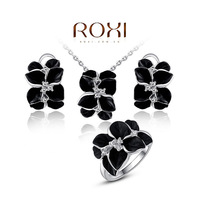 2014 New Arrival Fashion Roxi Classic Flower Women Crystal Necklace/earrings/ring Hand Made Original Design Jewelry Sets