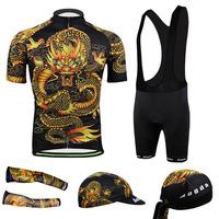 2014 Mens Dragon style Cycling Jersey Short Sleeve Bicycle cuff Full set  With bib shorts Cycling ClothingCC2020