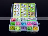 2014 New 1 Set 12 Slots Colourful Rubber Bands DIY Loom Bands Kit Set For Loom Bracelets