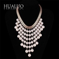 Dropping Shipping New Design Luxury Chunky Necklace Chain Multilayer Tassel Pearl Statement Choker Necklace Wedding JewelryN1654
