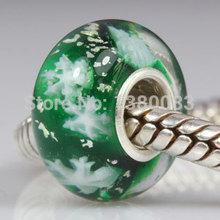 2PCS Lot European 925 Sterling Silver Snowflake Glass Beads fit Pandora Style DIY Charms Bracelets Jewelry