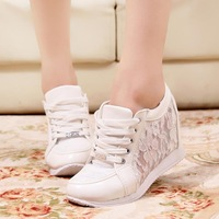 Fashion Breathable Lace Wedge Shoes for Women Platform High Heels Women Wedge Sneakers Ladies Casual Wedge Shoes Women Sneakers