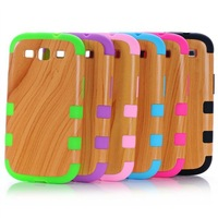 2014 new Wood Grain Combo Hybrid Rubber Phone Case Cover For Samsung Galaxy S3 i9300 +Film+Pen Good Quality Free shipping