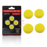4PCS  / lot hot New High Quality TPU Thumb Stick Grip Cap Cover for Sony PlayStation 4 PS4 Microsoft XBOX ONE Controller, Yellow
