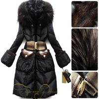 920 ! mink hair taproomprince design black long slim down coat female