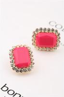 Earrings ,kalyptolith full rhinestone earrings, square candy color gem earrings ,summer Women accessories