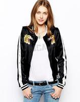 821Autumn new arrival fashion Golden tiger head embroidery long-sleeved baseball uniform jacket women jacket