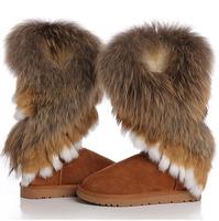 Free shipping 2014 winter warm high long snow boots artificial fox rabbit fur leather tassel women's shoes,size 36-40, SUN01