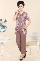 бросился прямой продажи хлопка лето пожилые дамы футболку расслабленной мать платье шифон рубашку девушка моды
