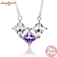 Elegant Fine jewelry for women 100% Genuine 925 sterling silver jewelry purple & white crystal necklaces & pendants DN008