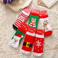 2014 New baby socks boy and girl's cartoon short socks children terry thicken warm kid's christmas socks 6 pairs/lot
