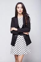 821Autumn new arrival korean pure black fashion stitching V-neck slim temperament female suit without button simple design