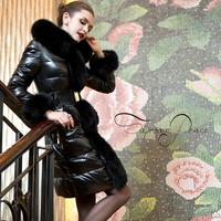 Wool ! taproomprince high quality black fox fur long design slim down coat