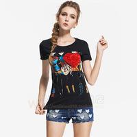 2014 summer fashion three-dimensional applique flower cartoon lady slim o-neck short-sleeve T-shirt