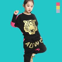 hot selling good quanlity wholesale novelty news Cartoon fashion handsome Kids Girls autumn set 2014 new little girl tiger head