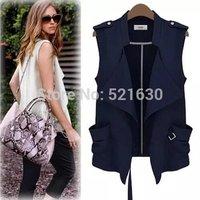 Free shipping 2014 women's fashion solid color irregular fashion vest  Ve2061