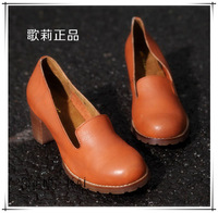 2014 women's high heeled shoes fashion cowhide fashion thick heel with the single shoes fashion vintage