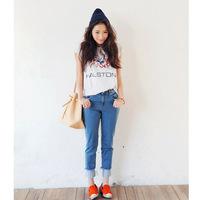 2014 summer and autumn stylenanda The American flag design T-shirt grid splicing joker T-shirt female
