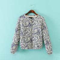 821Autumn new arrival retro design blue and white porcelain printing round neck cotton padded female warm jacket