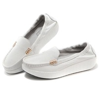 New 2014 Women Genuine Leather Platform Sneakers Fashion Round Toe Slip-on Cow Leather Loafers for Women Ladies Platform Shoes