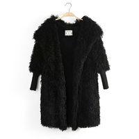 821Autumn new arrival korean solid color fashion plush coats female loose long hooded warm jacket