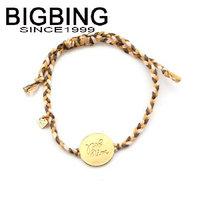BigBing  jewelry fashion cloth rope weaving metal pendant, bracelet charm bracelet fashion jewelry nickel free  HA045