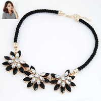 New 2014 Fashion black rose flower crystal Rope Design shape women Necklaces Free Shipping