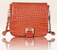 Hot sale retro chain bag for ladies designer crocodile pattern shoulder bag PU leather handbag brown clutch black white 3 colors