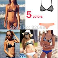 2015 NEW Women's fashion triangl Neoprene Bikinis sexy push up Neoprene SWIMSUIT Set Free shipping 5 colors