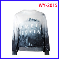 Women Hoodies O-Neck Long Sleeve 3D Printed Women Sweatshirts With The Castle Black And White Loose Pullover WY-2015