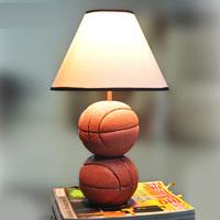 Modern 2 units Resin Basketball Kids Bedroom Table Lights Cute White Fabric Lampshade Study Room Children's Desk Lighting Lamps