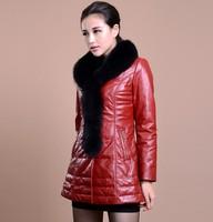 new 2014 100% Fox fur collar down winter coat women female long parka clothing Genuine leather sheepskin casual plus size 6990