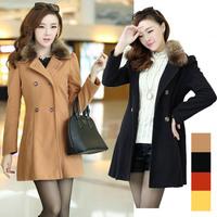 Real photo 5071 # 2014 winter new Korean Women Slim woolen coat lady fashion elegant wool coat (with fur collar) S,M,L,XL