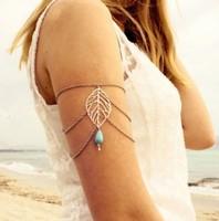 European foreign trade New design leaves link Bracelet vintage water drop Turquoise Bracelet tassel arm chain Bracelet jewelry