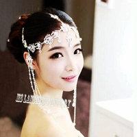 Bridal Rhinestone Forehead Band Dangle Headdress Topknot Hair Tiara Wedding Jewelry Wedding Forehead Tiara