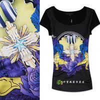 Women's fashion personality fashion color block print medium-long o-neck short-sleeve T-shirt