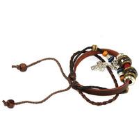 Hot2014 Luxury Fashion Vintage Rope Leaf Beads Bracelet Leather Wrap Wristband Women Girls Bracelet Adjustable