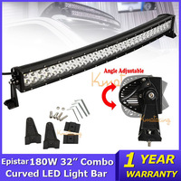 32INCH 180W Cambered EPISTAR LED Light Bar 12V/24V for Jeep combo beam led driving light offroad SUV 4X4 truck 18000lm