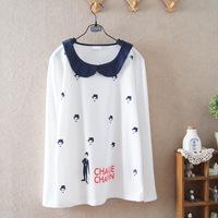 2014 student doll collar cotton long-sleeved t-shirt girls ladies women's clothing 588