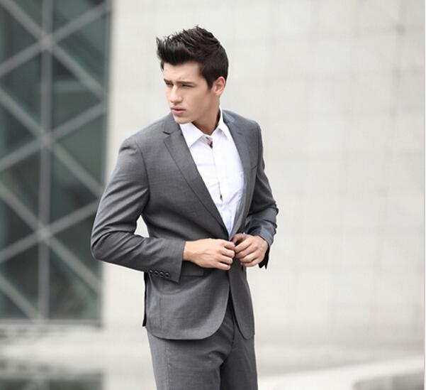 men suit gray suit wedding dress 2013 Business Career Men's body being renovated men blazer(China (Mainland))