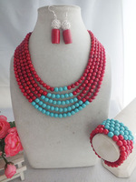 free shipping!! New Coral turquoise Jewelry set, Nigerian Wedding beads necklace MN-2597