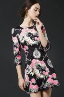 Free shipping 2014 woman new fashion black three quarter sleeve A line autumn winter dress